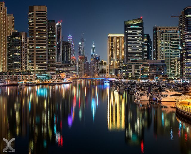 Daniel Cheong Dubai Marina Reflected  Late at night, when there are no boats cruising anymore, the water is calm enough to produce some nice...