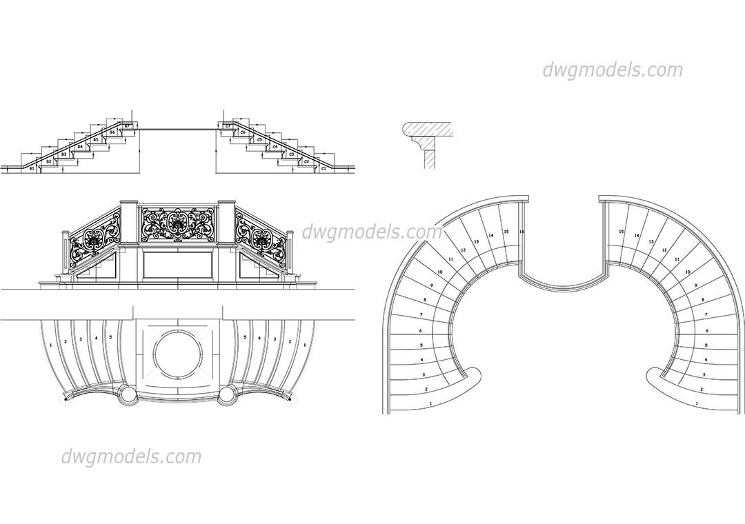Baroque staircase CAD drawings in 2019 | Design Guidelines