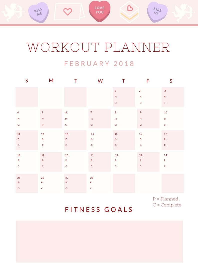 January 2018 Workout Recap And February Fitness Planner Fitness Planner Planner Workout Calendar