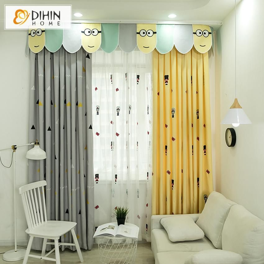 Dihin Home Cartoon Children Yellow And Grey Embroidered Curtain With Valance Blackout Curtains Grommet Window Curtain For Living Room 52x84 Inch 1 Panel In 2020 Curtains Living Room Grommet Curtains Curtains #yellow #and #grey #living #room #curtains