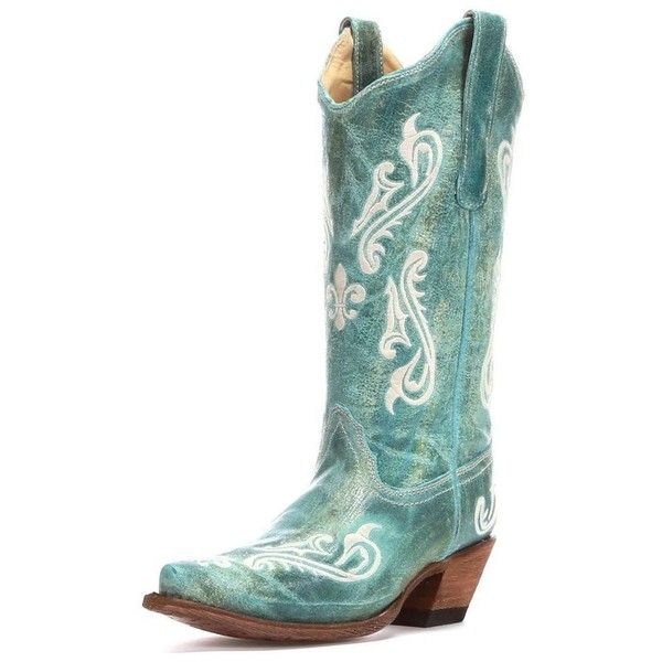 Women's Turquoise Cortez/Cream Fleur de Lis Boot R1973 ($180) ❤ liked on Polyvore featuring shoes, boots, cowgirl boots, western style boots, fleur de lis cowboy boots, cowboy boots and distressed cowboy boots