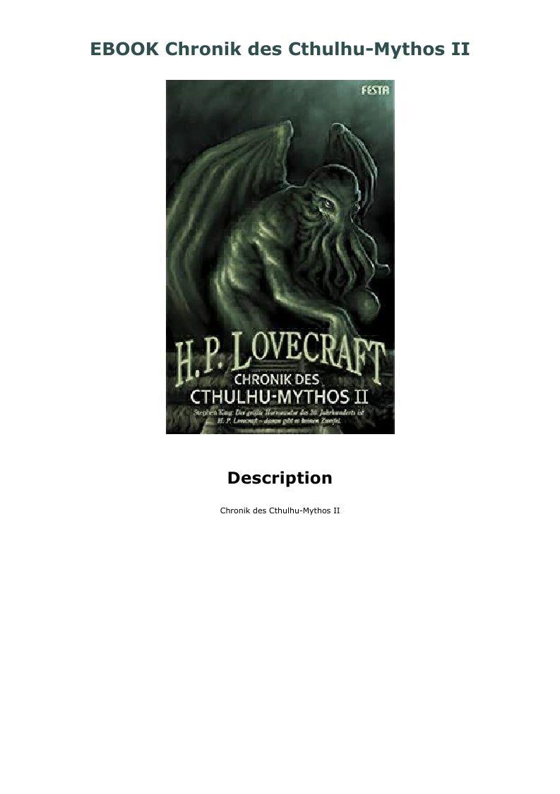 Ebook Chronik Des Cthulhu Mythos Ii Cthulhu Mythos Ebook Movie Posters