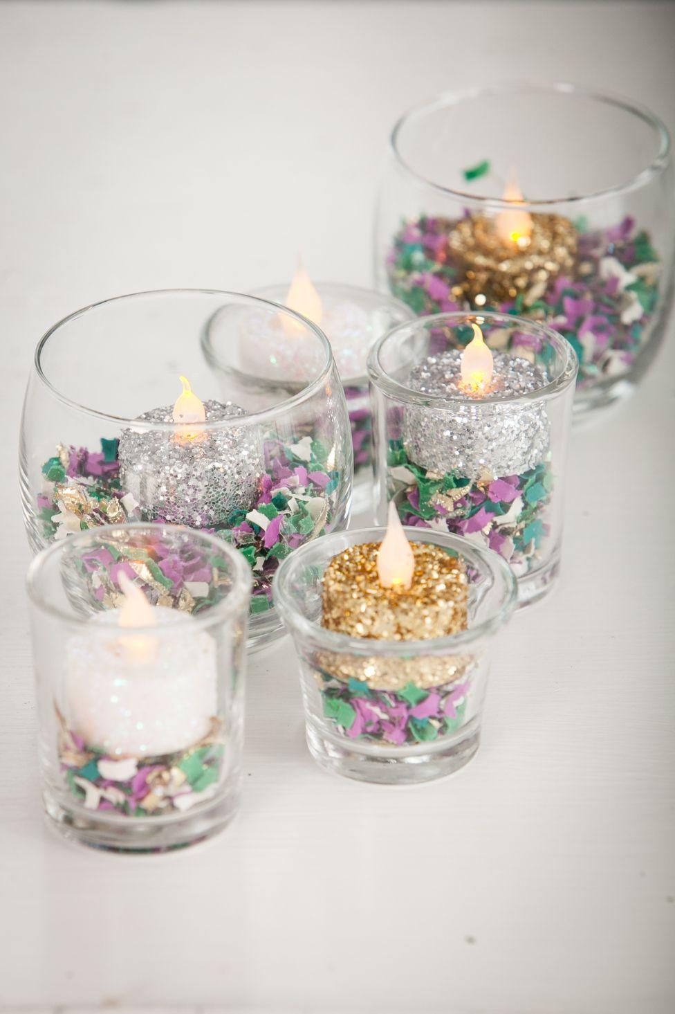How to make diy flameless glitter votives in mardi gras for Homemade votive candles