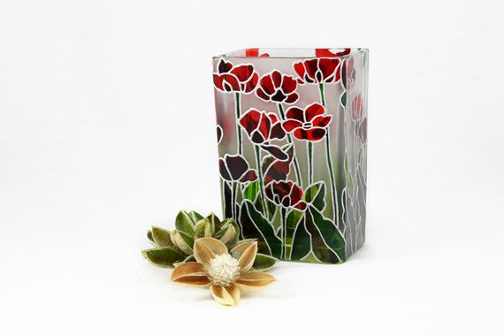 Hand Painted Glass Vase with Poppies  Decorative by SylwiaGlassArt, $150.00