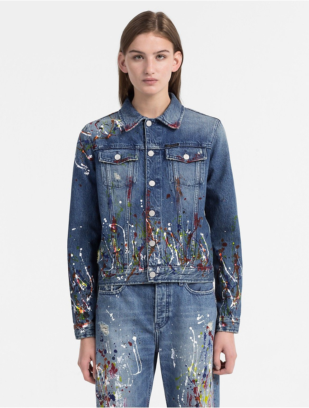 Crafted From Italian Rigid Denim These Straight Leg Jeans Feature A Vintage Wash And Splatte Designer Denim Jacket Paint Splatter Jeans Designer Outfits Woman [ 1545 x 1170 Pixel ]