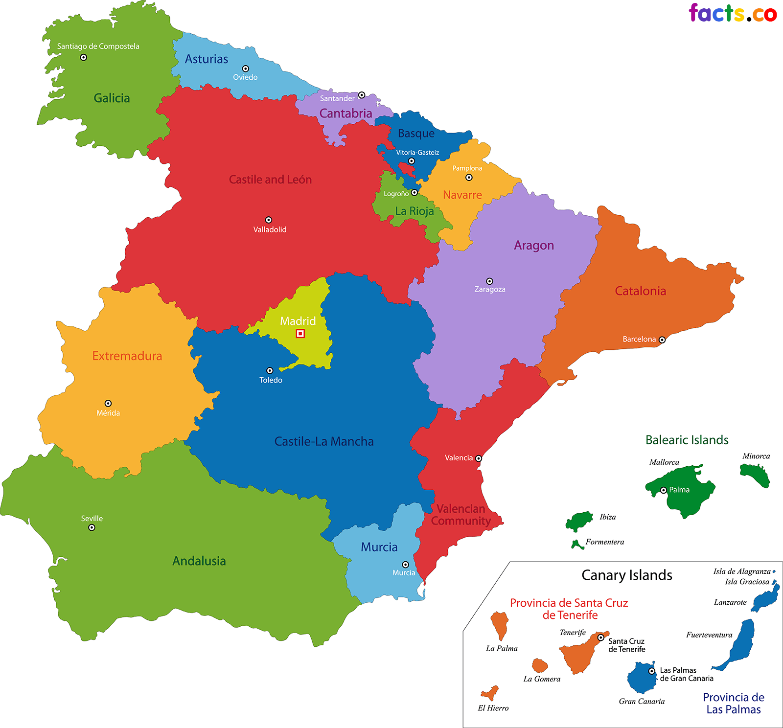Spain Map Blank Political Spain Map With Cities Span - Spain political map