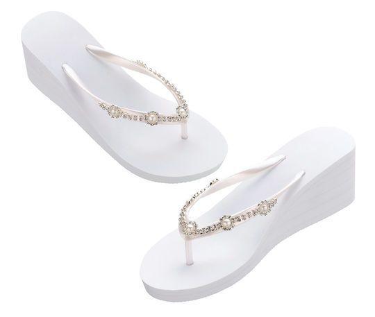 d427ee8806d25 Lillian Rose™ Small Pearl   Rhinestone Wedge Flip Flops