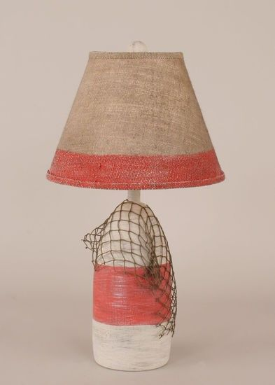 Red One Light Small Buoy Table Lamp With Net Coast Lamp Manufacturing  Accent Lamp Table La
