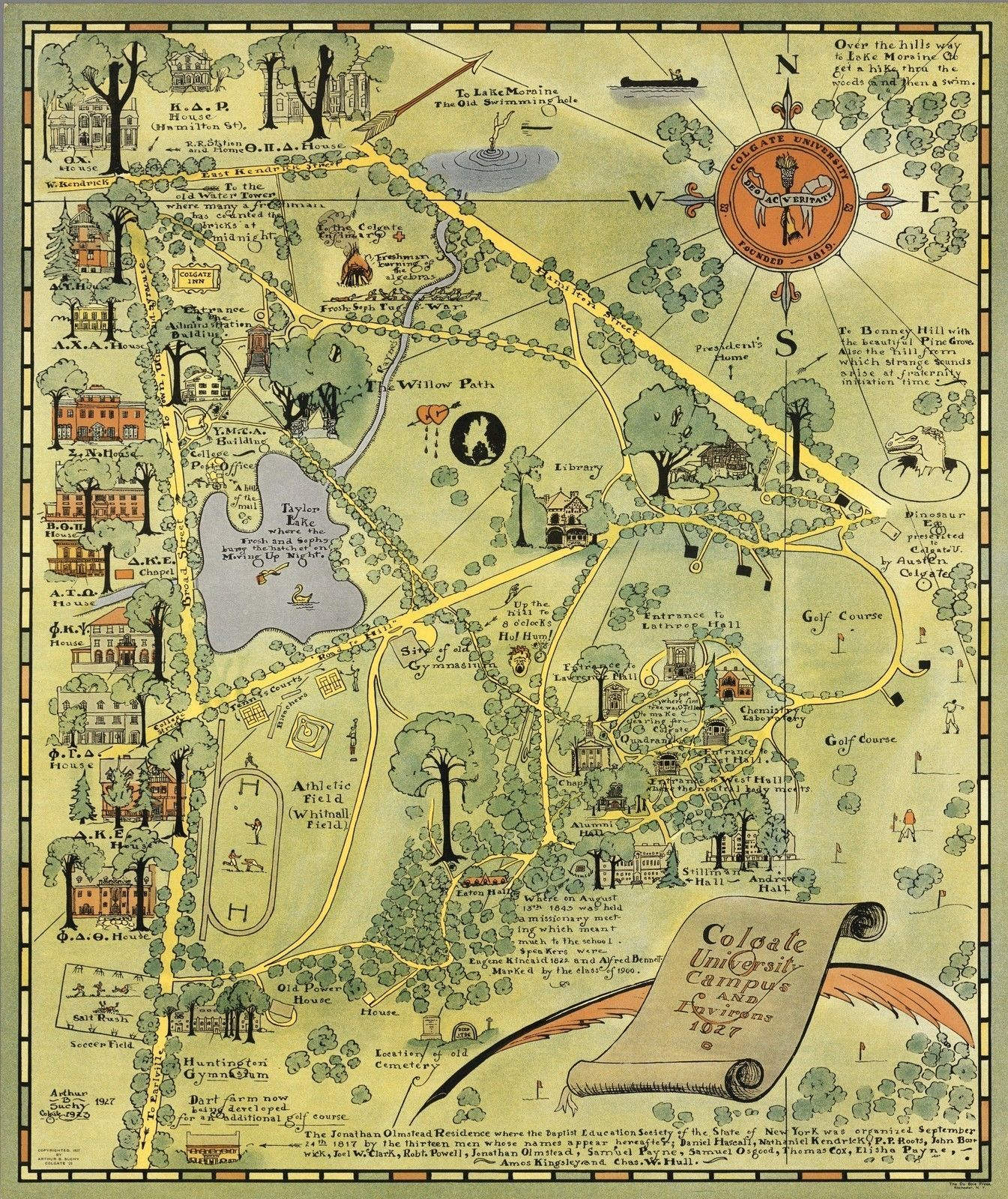1927 Pictorial Map Colgate University Campus Ny New York Environs