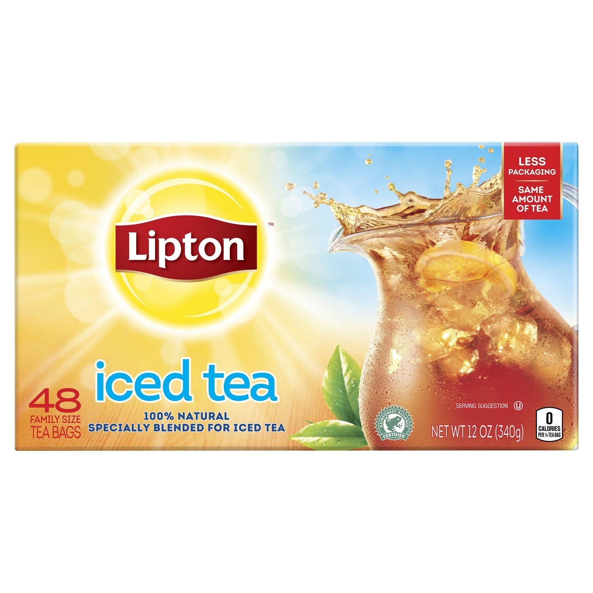 Lipton family black iced unsweetened black tea bags 48ct