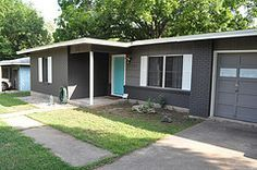 gray mid century modern house with blue door google search - Mid Century Modern Home Exterior Paint Colors