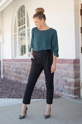 High waisted tie front trouser pants in black. These trendy work pants will keep... #womensbusinessattire