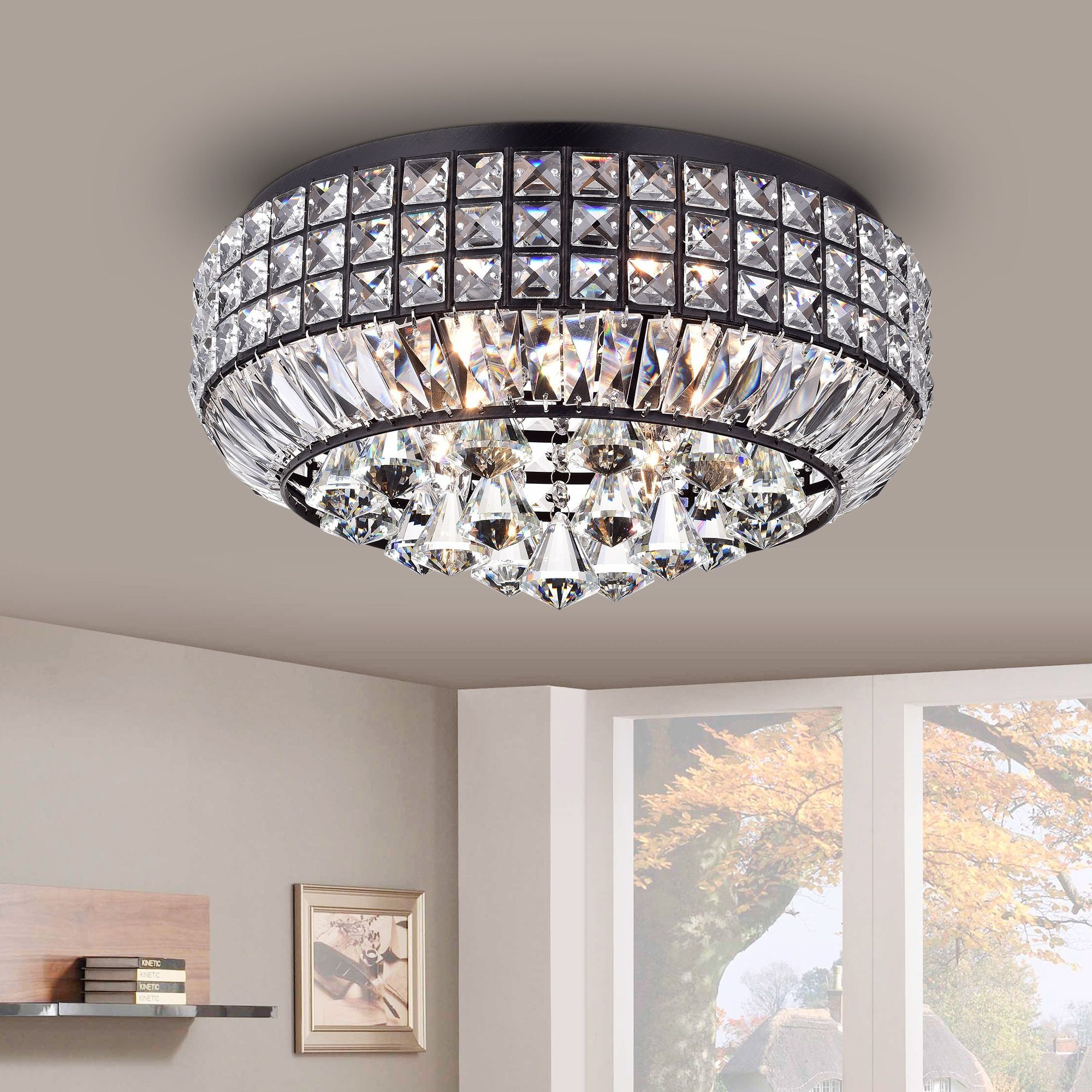 Warehouse of tiffany pamarin round crystal antique black flush mount warehouse of tiffany pamarin round crystal antique black flush mount ceiling light round flush crystal aloadofball Choice Image