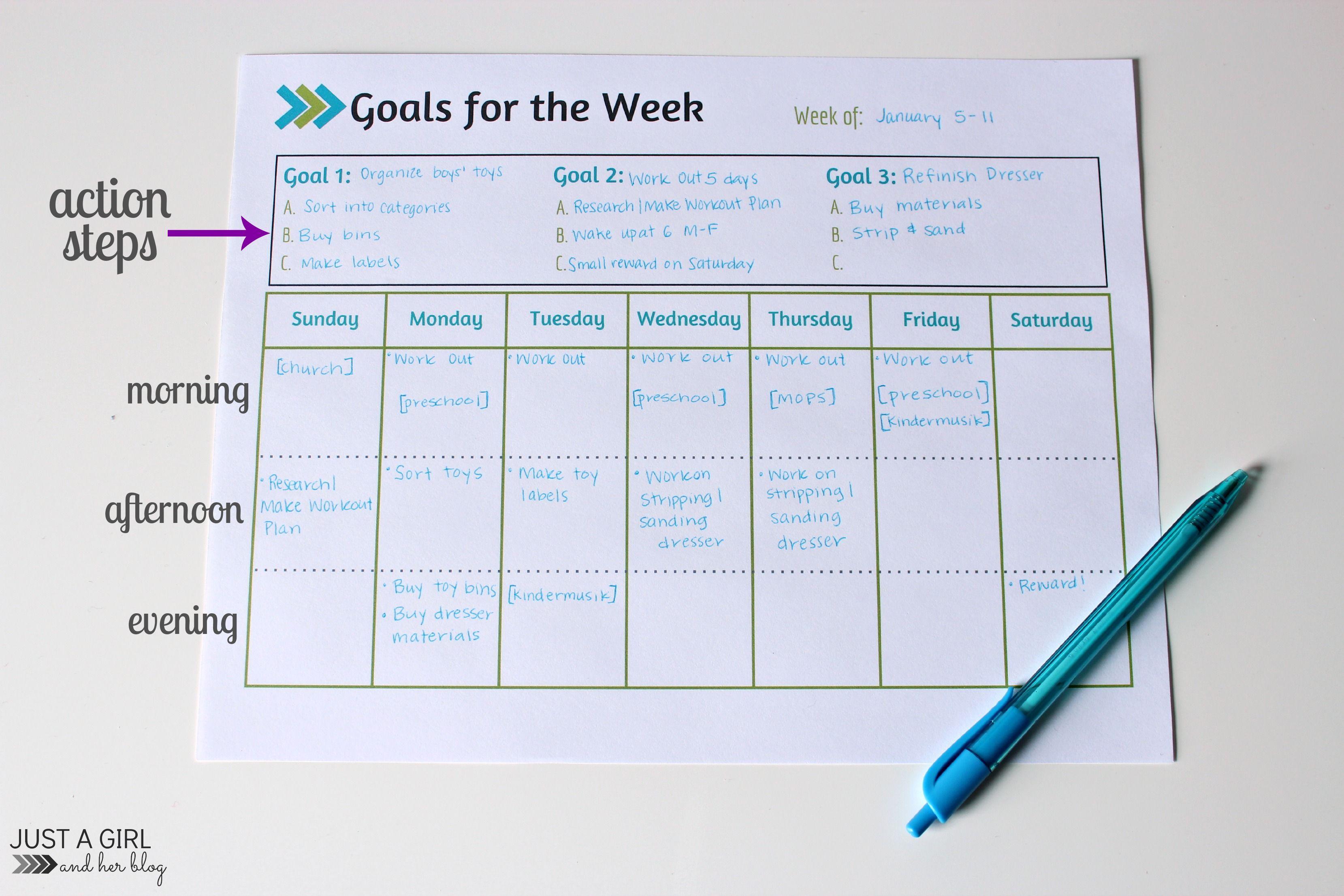 Weekly Goals Printable  Free Printable  Goals Printable Free