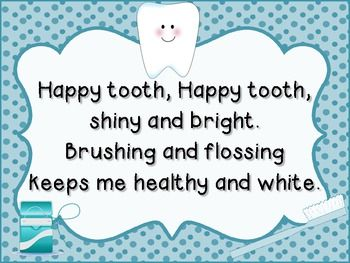 Happy Tooth and Sad Tooth poems.  I am not sure who wrote these poems, but it was not me.  These are cute posters to hang up for Dental Health Month.