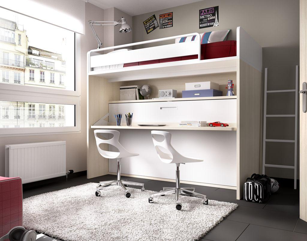 Loft bed with desk and pull out bed  literas con escritorio modernas  Buscar con Google  desing