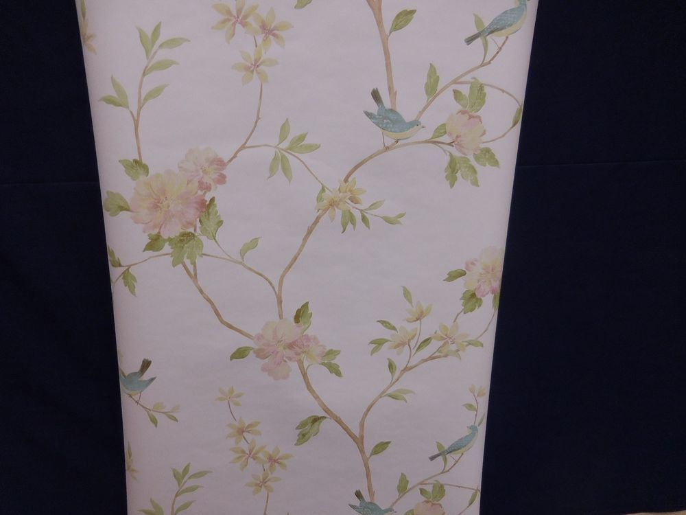 Norwall Wallpaper Trailing Floral Pink Yellow Green Leaves