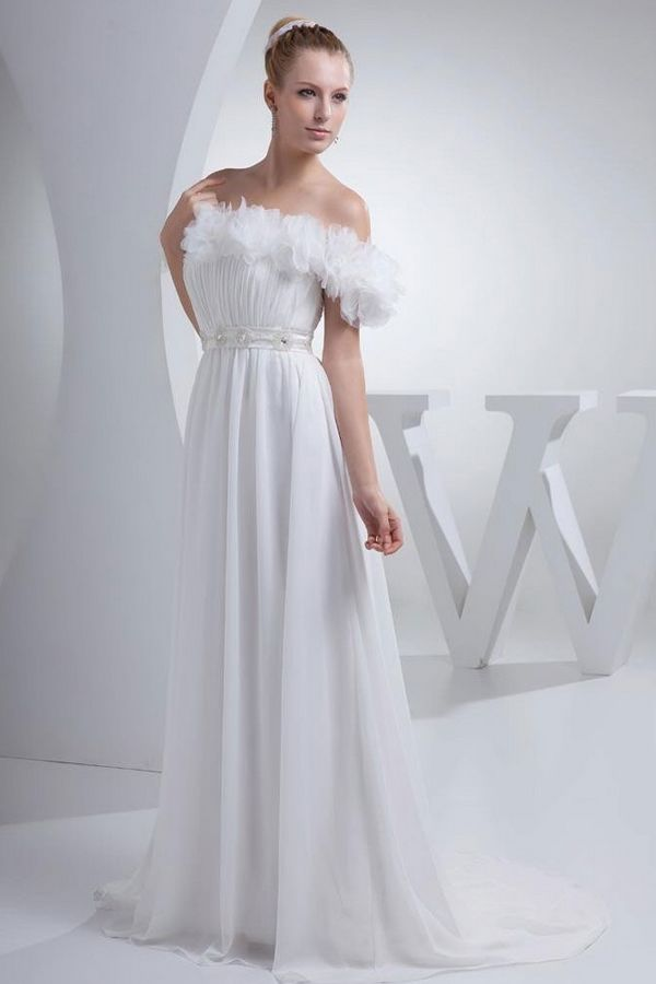 White Chiffon Off Shoulder Wedding Gowns - Order Link: http://www.theweddingdresses.com/white-chiffon-off-shoulder-wedding-gowns-twdn3143.html - Embellishments: Ruffles; Length: Sweep/Brush Train; Fabric: Chiffon; Waist: Natural - Price: 216.7USD