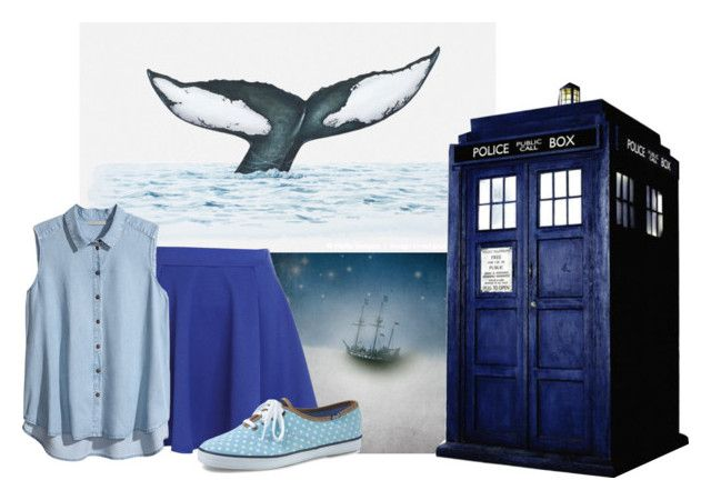 """There Be Whales Here"" by jackie72107 ❤ liked on Polyvore featuring River Island, H&M, Keds, doctorwho, tardis and whale"