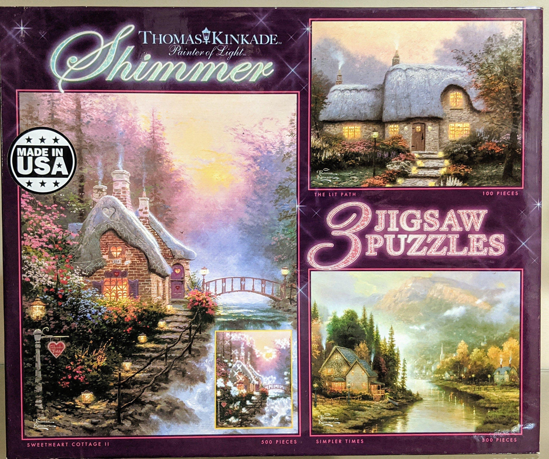 Last One Left Thomas Kinkade Shimmer 3 Puzzle SET by