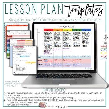 Lesson Plan Templates Google Digital Resource Pinterest Lesson