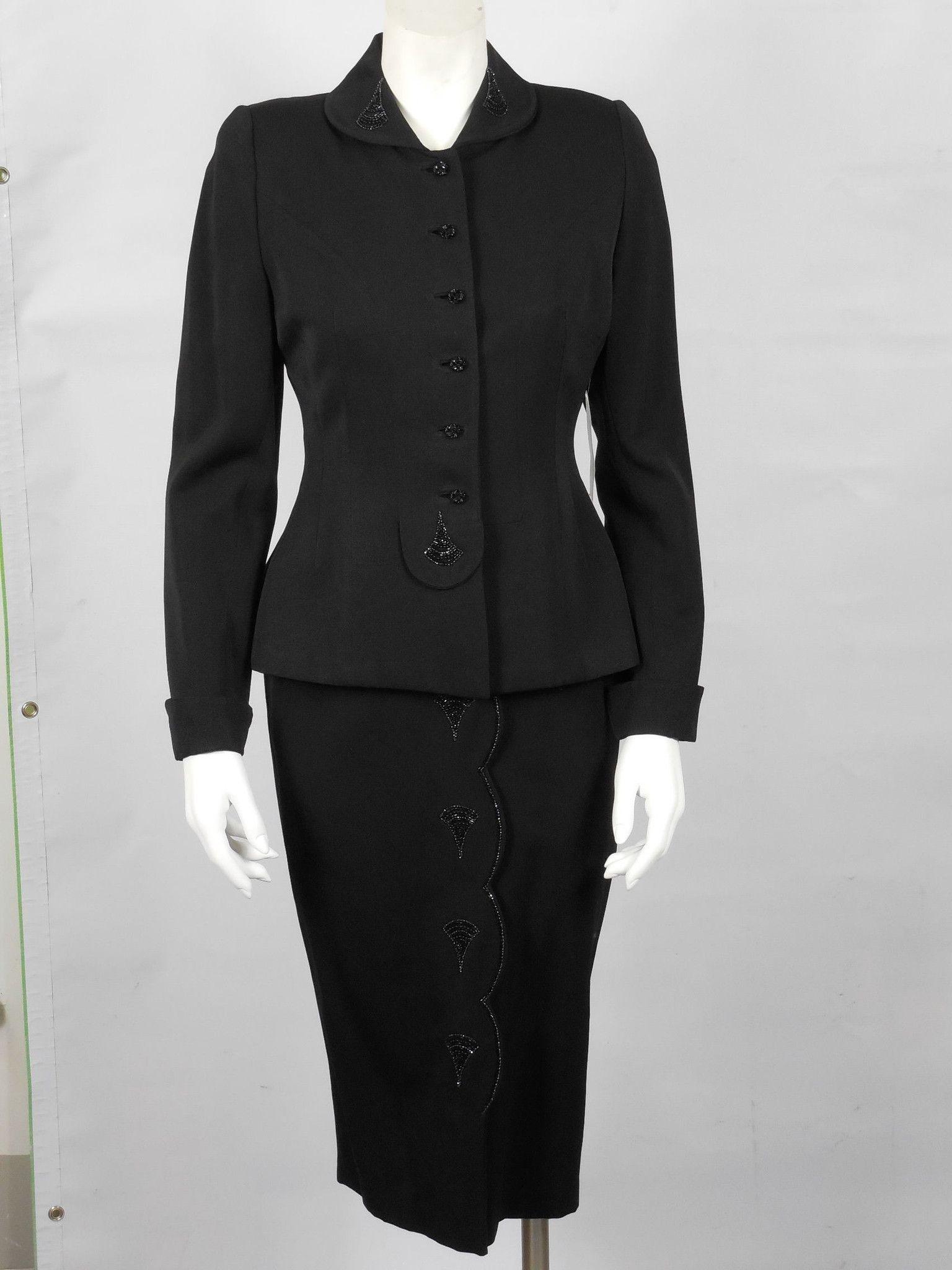 1950 Vintage Black Wool Gabardine Suit with Bead Work Embellishments