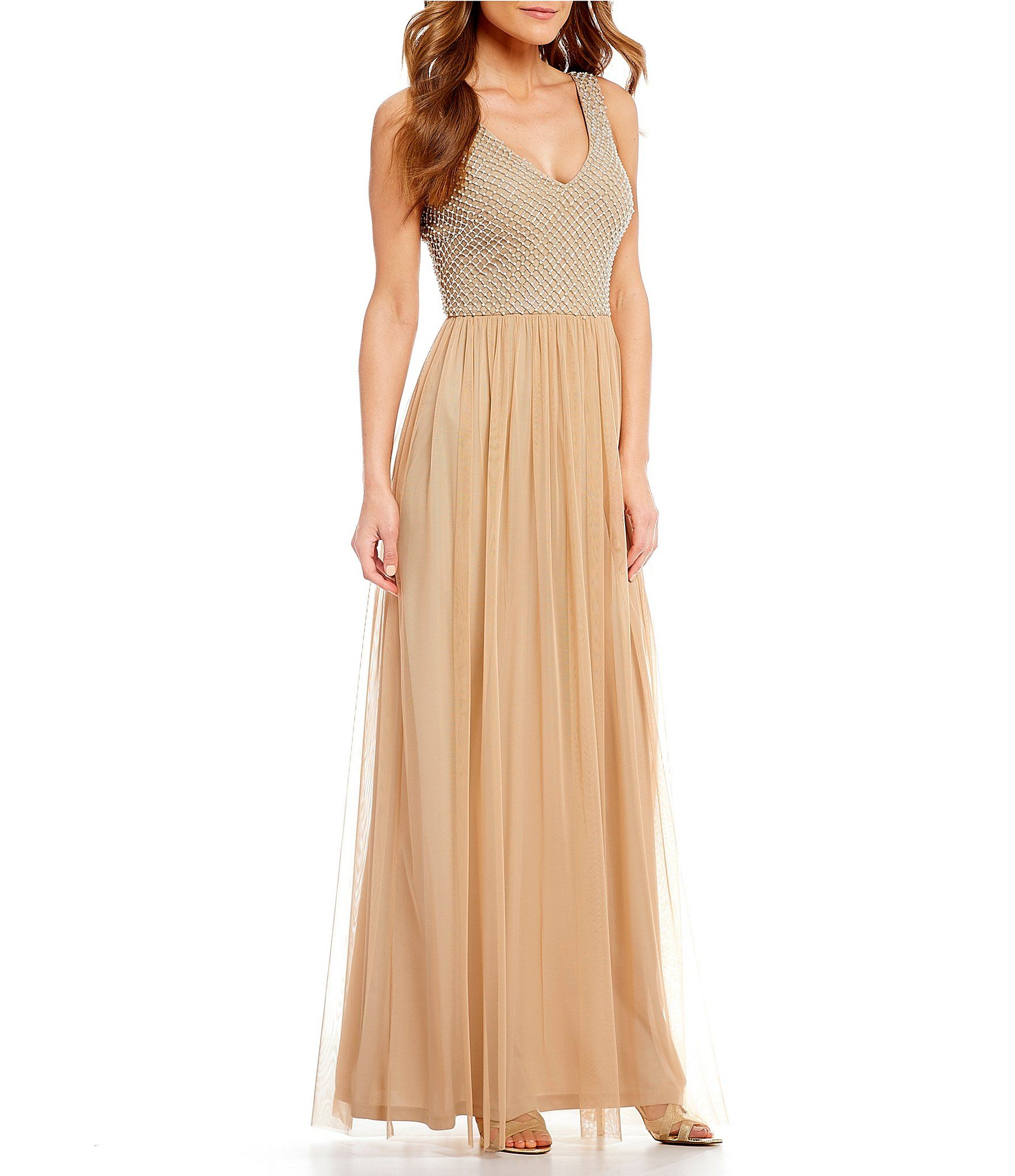 7a64954ce64 Adrianna Papell Long Tulle Skirt Beaded Gown  Dillards