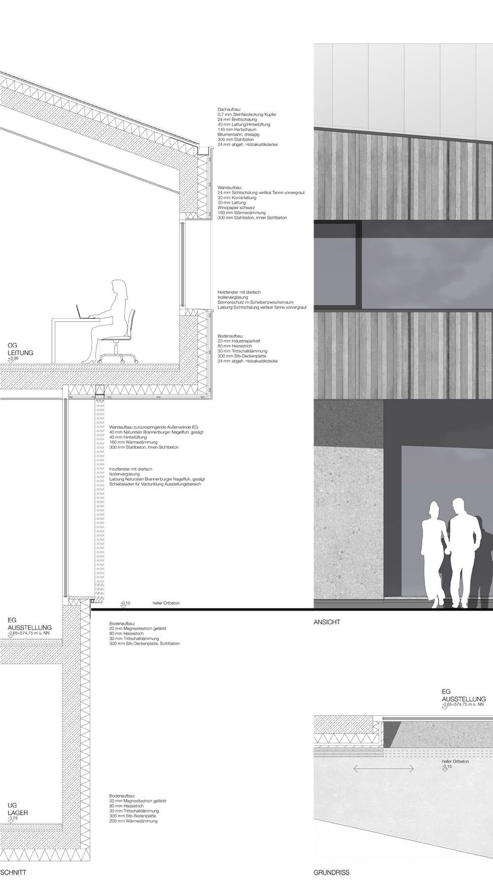 1st Prize Realisierungsteil Fassadenschnitt Layout Architecture Architecture Details Architectural Section