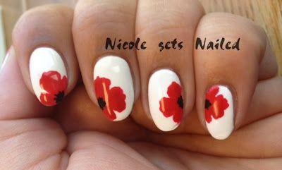 red poppy flowers white - nail