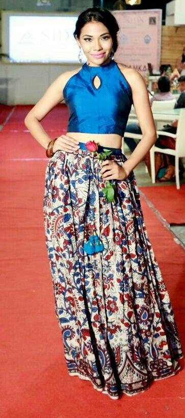 208b5ace6a21b Blue Croptop Silk Skirt Kalamkari