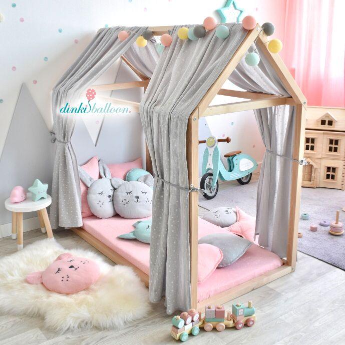 Musselin Stoffhimmel für Hausbetten 'Sterne' hellgrau 330cm #toddlerrooms