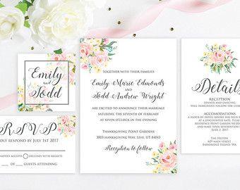 Simple Watercolor Wedding Invitation Greenery by LiviLouDesigns