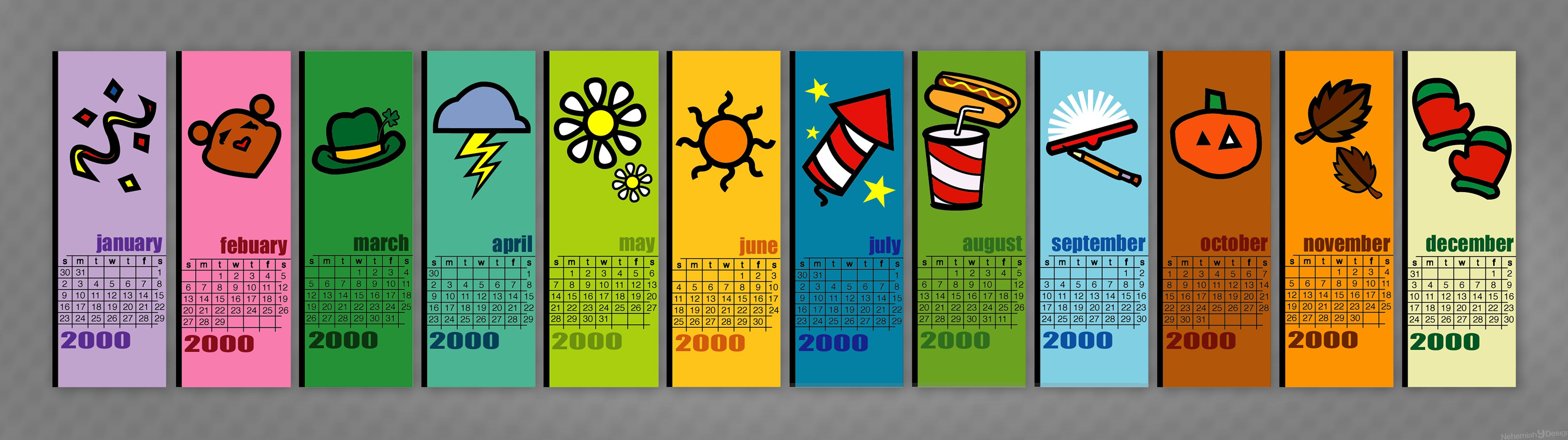 visual communications design class from back in the day  calendar bookmarks