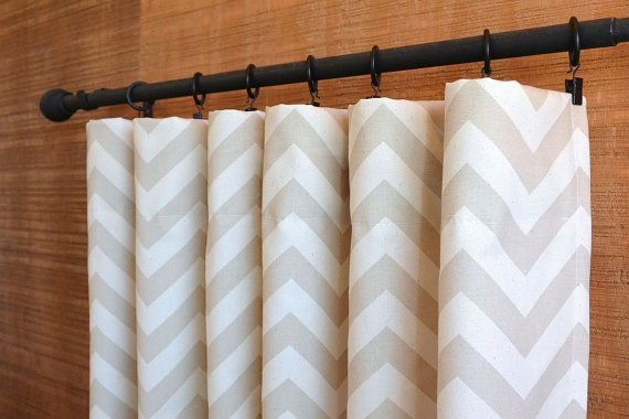 WINTER SALE ⋘ One Pair Window Treatments Curtains Drapery Panels 24W or 50W x 63, 84, 90, 96 or 108L ZigZag Khaki Natural shown