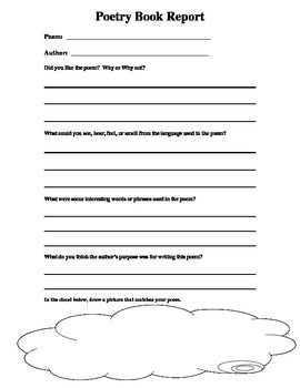 This Is A Book Report Template That Could Be Used For Poetry