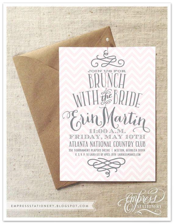 chevron and swirl bridal brunch invitation 5 x 7 white envelope