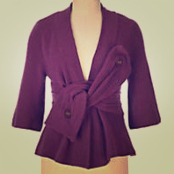 SATURDAY SALEANTHROPOLOGIE wool jacket Dark plum color, 68% wool, bow like detail on the front, very cool and interesting. No lining. Kimono style sleeves. A little stretch. From pit to pit - 17.5, length - 22, sleeve length - 16. Super flattering. Gently loved. Anthropologie Jackets & Coats