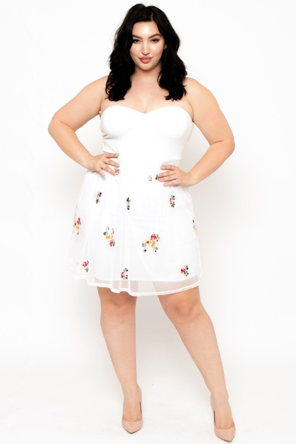 Plus Size Floral Mesh Contrast Ballerina Dress- White | Moms Outfit ...