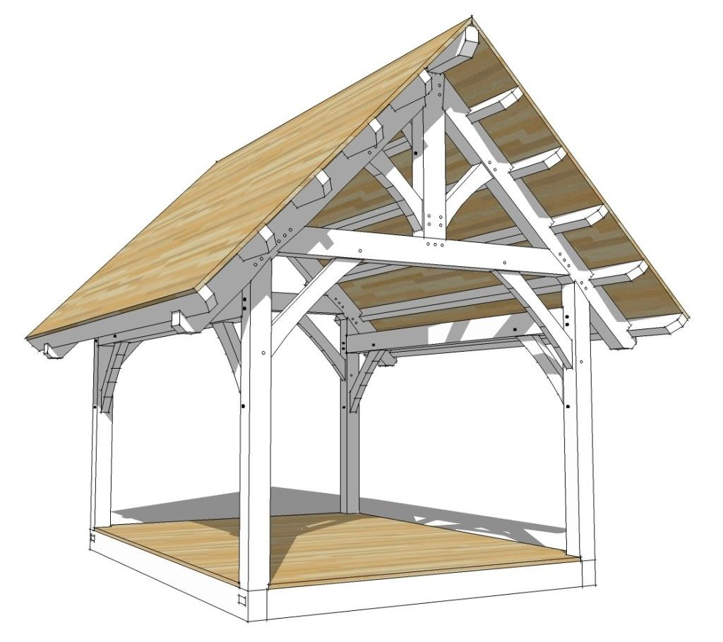 12×16 King Post Timber Frame Plan