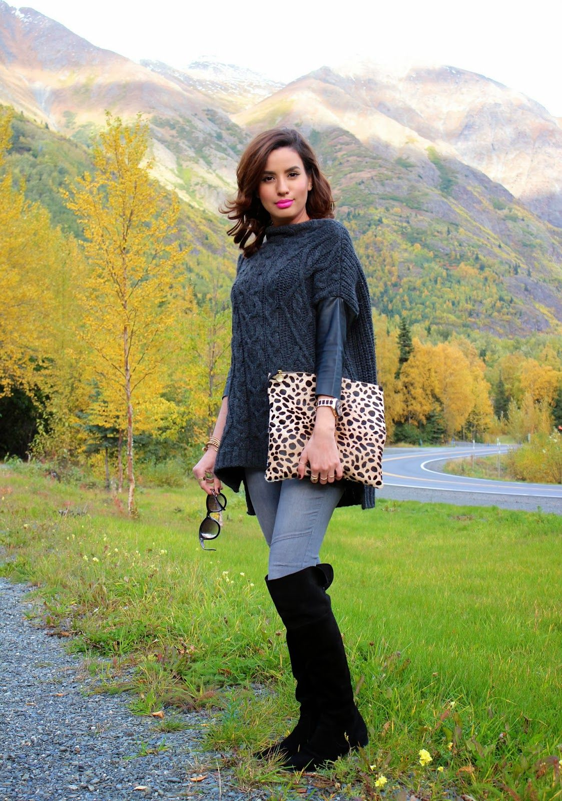Zara leather sleeve sweater, H&M moto skinny jeans, Zara suede over the knee boots and Clare Vivier leopard clutch