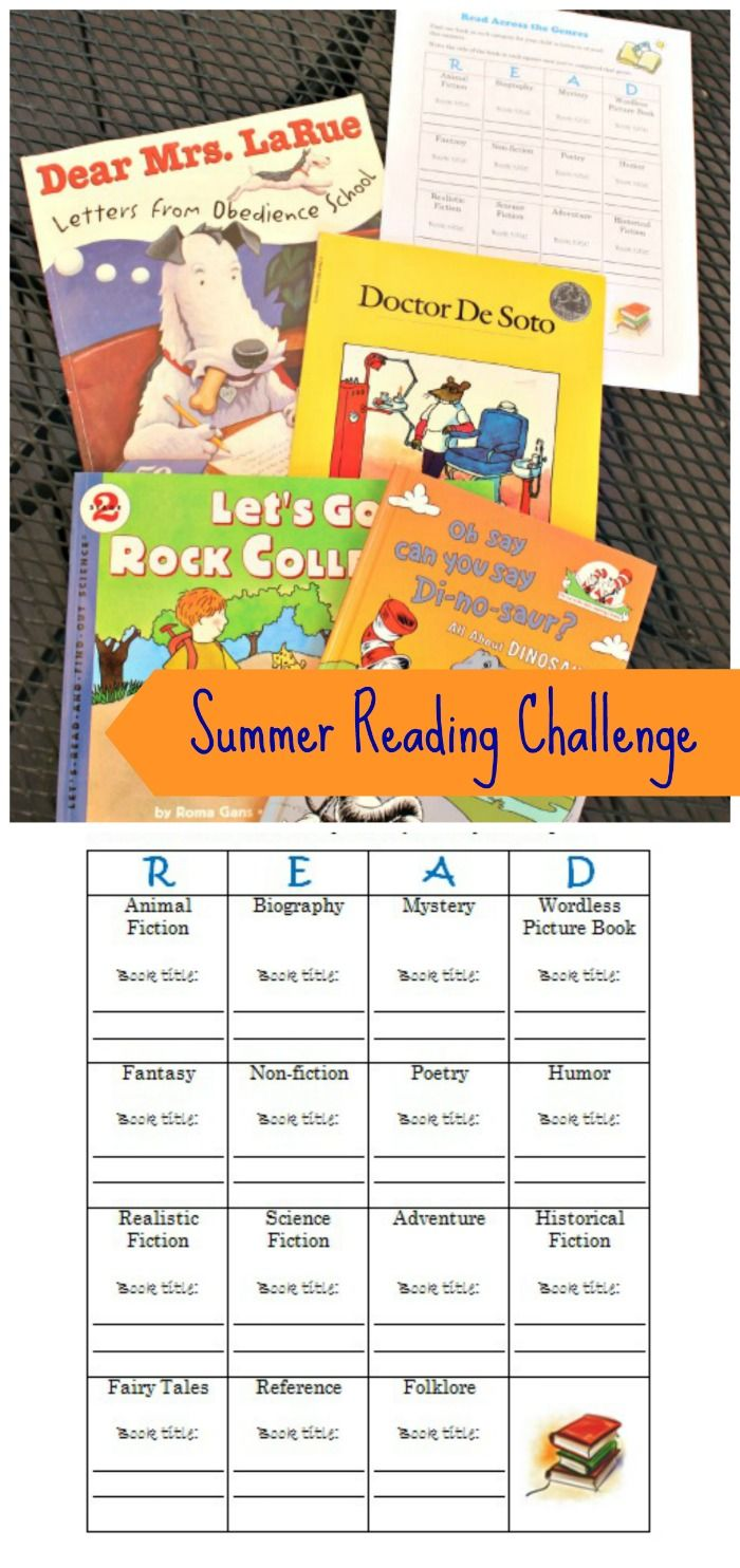 Free Summer Reading Log Printable Genre Challenge Reading