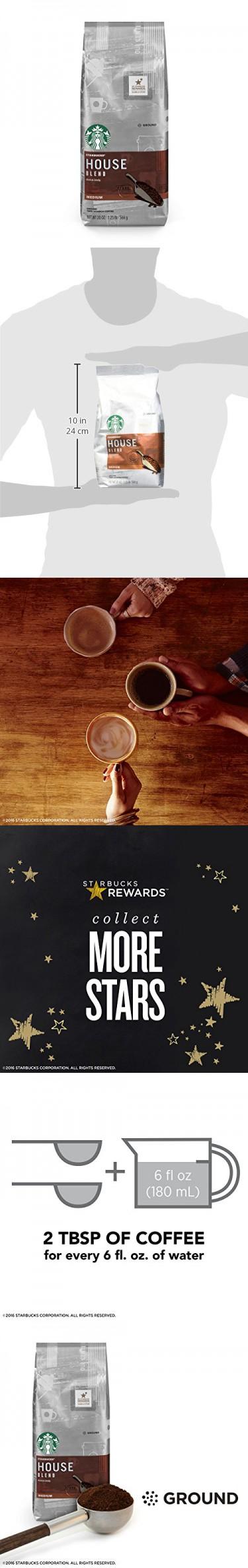 Starbucks House Blend Medium Roast Ground Coffee, 20Ounce