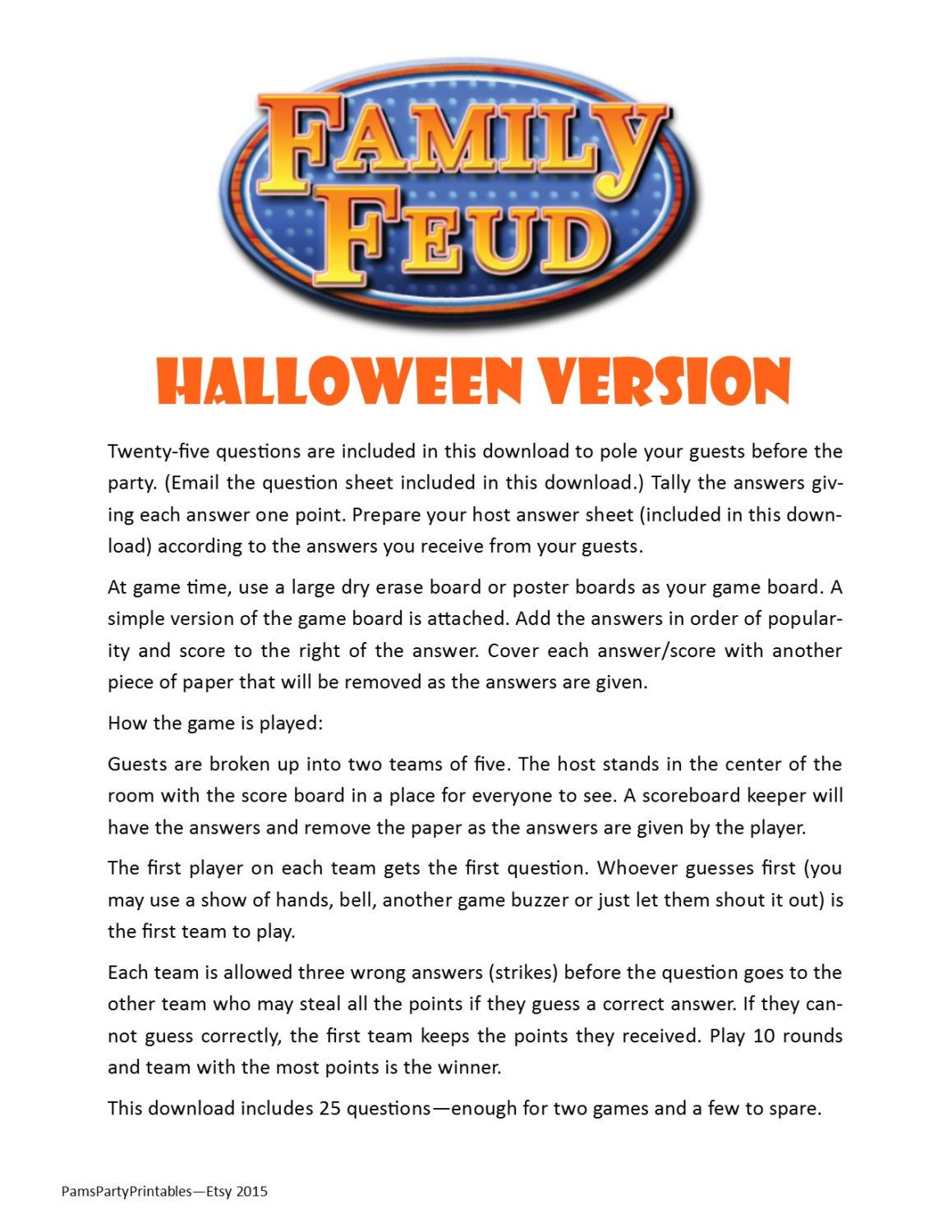 halloween family feud printable game halloween party game instant download by pamspartyprintables on etsy