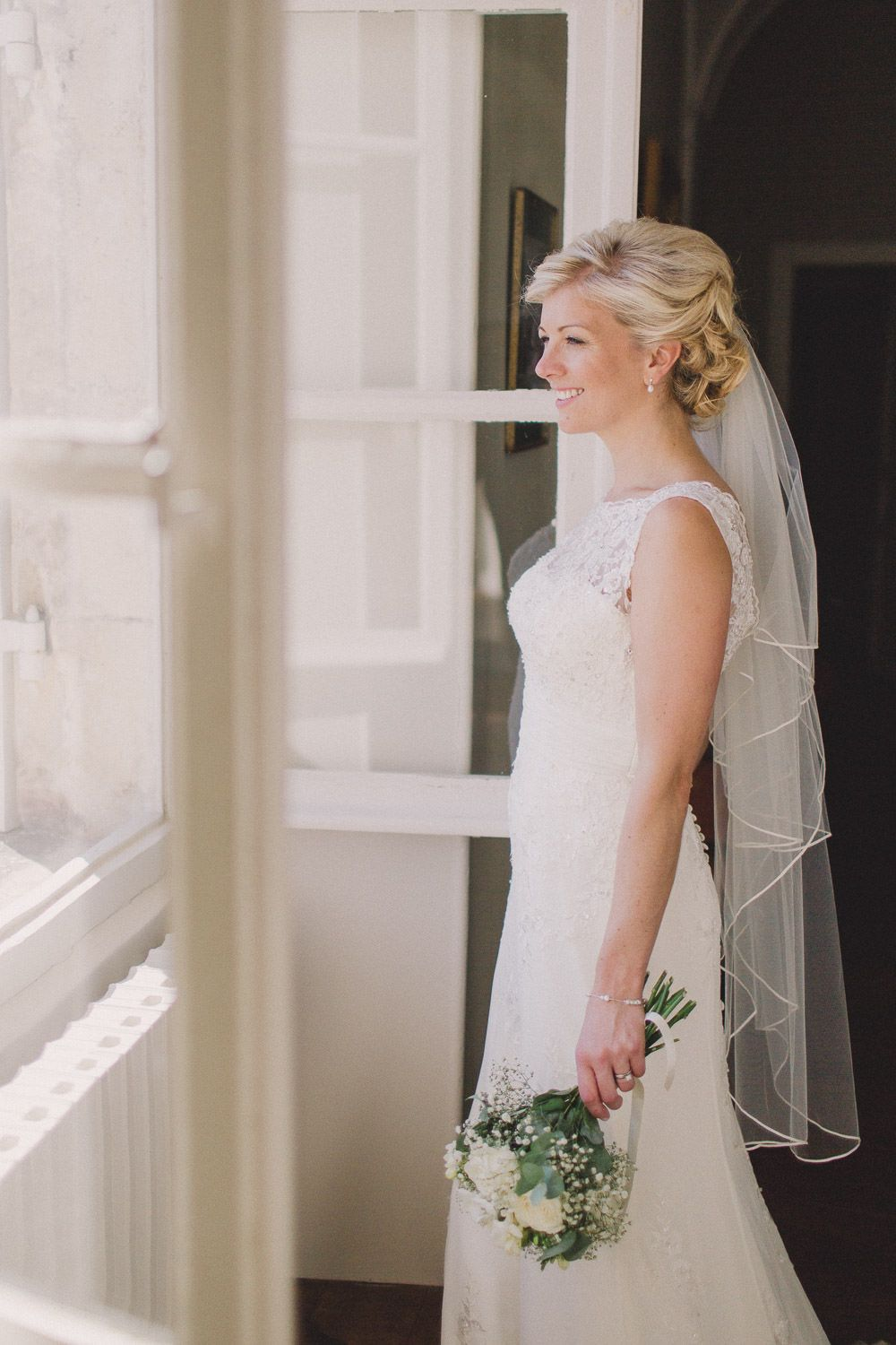 A destination wedding in the Dordogne with lace wedding gown and ...