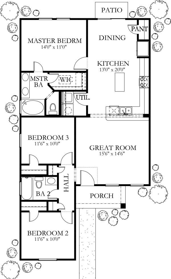 Ranch Style House Plan 2 Beds 2 Baths 1100 Sq Ft Plan 116 171 Ranch Style House Plans Ranch Style Homes House Plans