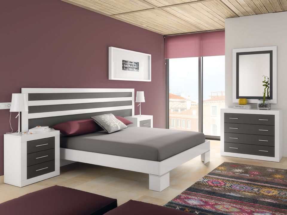 dormitorio matrimonial cabecero grande blanconegro