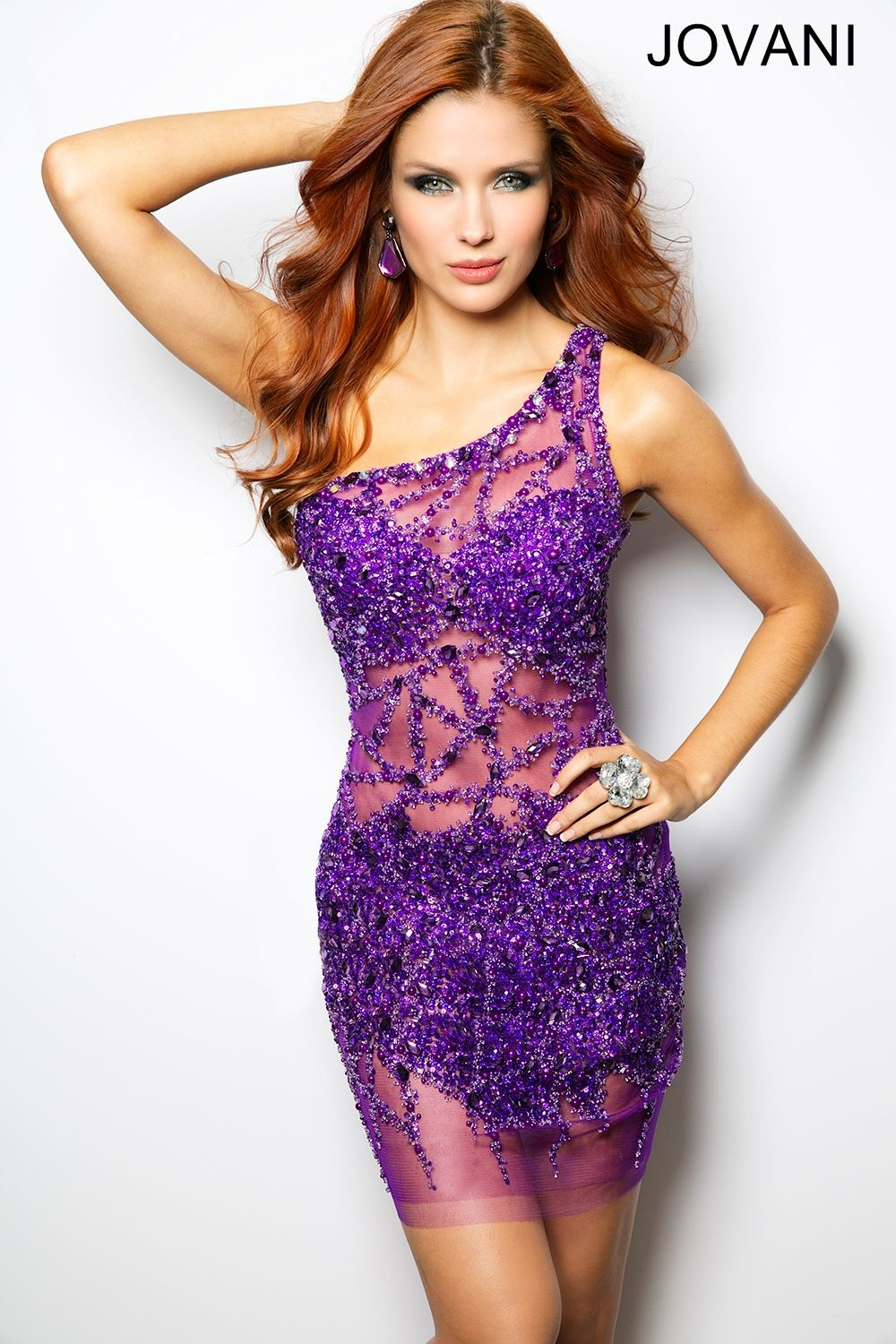 Purple One Shoulder Sheer Sequin Cocktail Dress | Color My World ...
