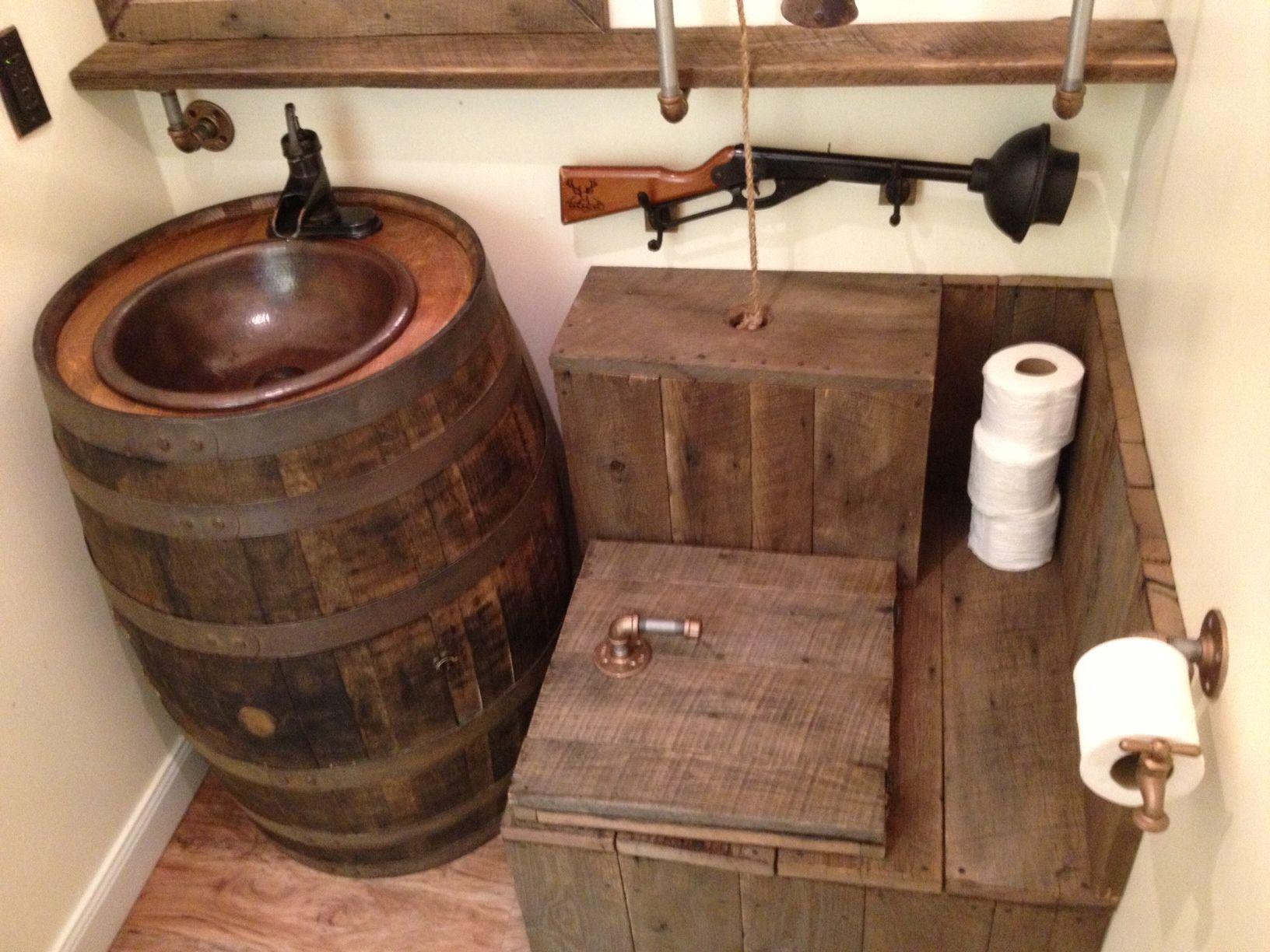 barrel sink rustic toilet