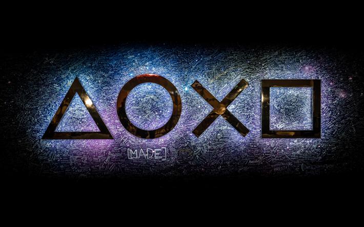 Download wallpapers PlayStation, 4k, logo, creative Game