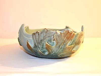 Large Antique Weller Art Pottery Oak Leaf Console Bowl